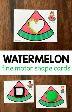 FREE printable watermelon fine motor shape cards to use in a preschool kindergarten classroom or as a busy bag at home! The set includes 12 shapes and can be used with play dough buttons beads pom poms to build the shapes and practice fine motor skills. Picnic Activities, Preschool Activities, Free Preschool, Preschool Printables, Watermelon Activities, Shape Games, Toddler Themes, Picnic Theme, Gadgets