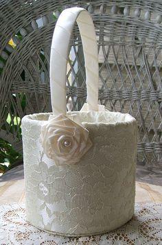 Flower Girl Basket Handmade ENCHANTMENT Flowergirl in White or Ivory