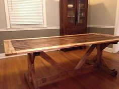 Reclaimed Farm Table from old barn door | Do It Yourself Home Projects from Ana White