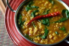 Chana Dal with Spinach Soup {Slow Cooker} CBS Note: This vegetarian dish was VERY flavorful and VERY easy (two of my favorite things).  I was unable to find fenugreek seeds and I substituted 2 tsps of red pepper flakes for the dried chiles.  This would be good served as a hearty side, but you could also add grilled chicken to it for a heartier meal.