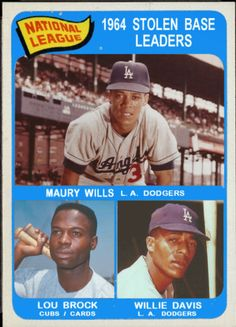 Baseball Cards That Never Were: 1965 Topps NL Stolen Base Leaders: Maury Wills… Indians Baseball, Chicago Cubs Baseball, Dodgers Baseball, Sports Baseball, Baseball Players, Baseball Cards, Maury Wills, Baseball Pictures, Better Baseball