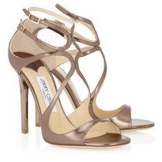 Jimmy Choo - Lance - 134lancemle - Light Bronze Mirror Leather Sandals