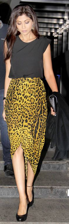 Shilpa Shetty clicked leaving a Mumbai eatery wearing a fitted black top and a leopard-print Dolce and Gabbana skirt. #Bollywood #Fashion #Style #Beauty