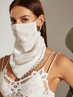 Contrast Trim Protection Face Mask Scarf Check out this Contrast Trim Protection Face Mask Scarf on Shein and explore more to meet your fashion needs! Diy Mask, Diy Face Mask, Face Masks, White Face Mask, Chiffon Material, Sheer Material, Fashion Face Mask, Mask Design, Womens Scarves
