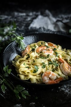 Shrimp Scampi with Tagliatelle