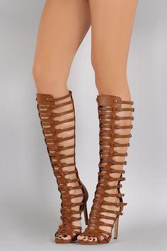 Strappy Buckled Open Toe Gladiator Stiletto Heel