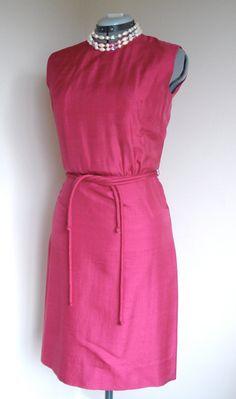 Mancini of California Silk Sheath in Fuschia on SALE Vintage Pink Shift Dress/ 1960s Mad Men at LOVEbyAprilLeigh, $48.00 #vintagefashion #vintagefashionista #vintagedress #vintagefashionluv https://www.etsy.com/listing/169017821/vintage-evening-gown-mardi-gras-evening