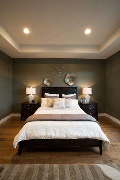 Chelsea Grey Ben Moore  //  darker walls + oak floors + light bedding