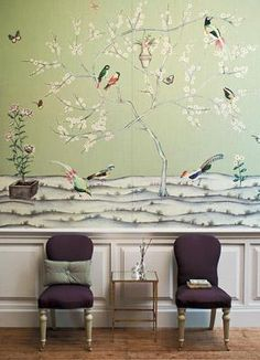 Asian birds fabric as wallpaper: 'Snow Blossom' by Zoffany by xJavierx, via Flickr-- can you believe this crazy wallpaper design idea?