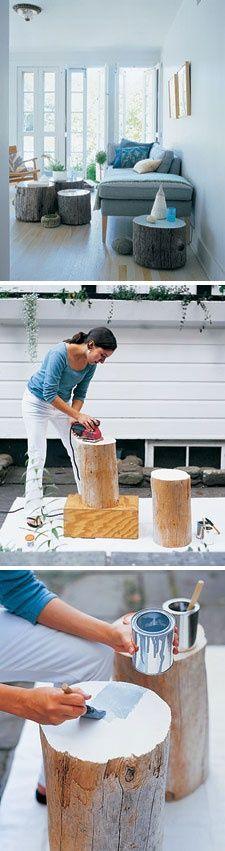 boomstam, bovenkant schuren, daarna in gewenste kleur schilderen.