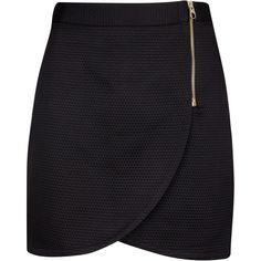 Ted Baker Kelsall textured wrap mini skirt (315 BRL) ❤ liked on Polyvore featuring skirts, mini skirts, saias, faldas, black, clearance, short wrap skirt, above the knee skirts, wrap skirts and short mini skirts