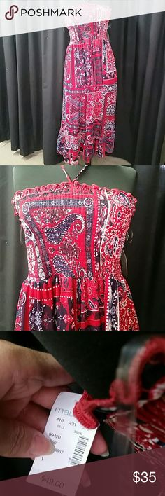 NWT Maurice's sz 1 Plus midi Halter dress So cute! Sz 1 Plus nwt with lots of stretch for comfort, tie halter, and fully lined. Red, navy, white. Measures approx 36 inches in length not including straps.  I have tons of fun items daily so please follow me! Questions and reasonable offers are welcomed! And likes and shares are appreciated. I love offers! Customer Happiness Guarantee! Bundle discount available,  kids and men's coming soon! maurice's  Dresses Strapless