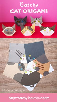 Origami,Origami cat, Unique Origami, Origami DIY Origami Easy, Origami For Kids, Origami Animals, Origami Paper, Origami Ideas, https://catchy-boutique.com/collections/catchy-original/products/catchy-cat-origami-vol-2