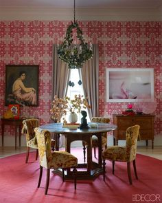 This Dining Room is Over the Moon...Raspberry and Gold! Oh My!!