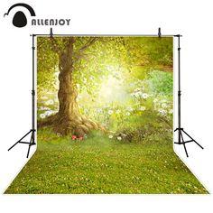 Allenjoy photographic background Meadow flower tree forest backdrops children boy studio scenic 10x10ft
