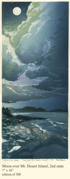 "Moon over Mt. Desert Island,  2nd state, 7"" x 16"" Woodcut - Matt Brown"