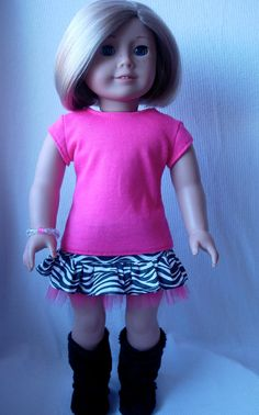 Fun American Girl doll zebra print skirt -fashion inspiration idea