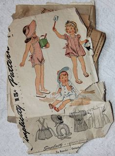 Child's Sun Suit, Bonnet and Dress 1940s Vintage Sewing Pattern SIMPLICITY 4968