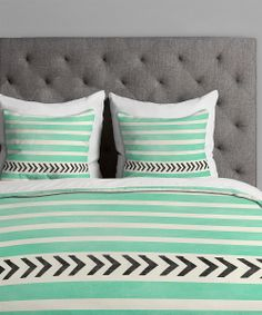 This Mint Stripes & Arrows Duvet Cover by DENY Designs is perfect! Dream Bedroom, Home Bedroom, Bedroom Decor, Bedroom Ideas, Bedroom Colors, Master Bedroom, My New Room, My Room, Spare Room