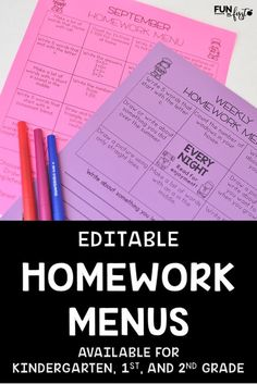 Homework Menus have saved me so much time in my classroom. These menus are completely EDITABLE and available in monthly or weekly options. Kindergarten, grade, and grade menus available. 1st Grade Homework, 2nd Grade Reading, First Grade Classroom, Math Classroom, Classroom Ideas, Classroom Organization, Kindergarten Teachers, Future Classroom, Maths