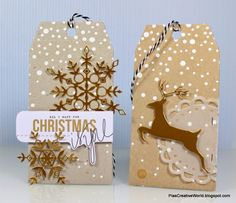 #SSSFAVE Guest Designing for Picturing the World. Christmas tags in kraft with snowflake stencil and snowflake dies from Simon Says Stamp. Leaping deer die from Memory Box.