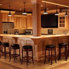 basement kitchenette bar ideas-no window, wrap around bar