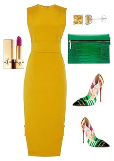 """Untitled #160"" by sanchez-drummond ❤ liked on Polyvore featuring Cushnie Et Ochs, Christian Louboutin, Yves Saint Laurent and Victoria Beckham"