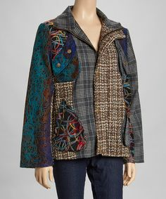 Look what I found on #zulily! Funky People Turquoise & Brown Plaid Patchwork Jacket - Plus #zulilyfinds