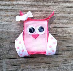 Pink Owl Ribbon Sculpture Hair Clip - Toddler Hair Bows - Girls Hair Accessories... Free Shipping Promo via Etsy