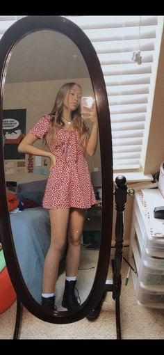 Dress from posh mark with doc martens Indie Outfits, Teen Fashion Outfits, Cute Casual Outfits, Girly Outfits, Retro Outfits, Simple Outfits, Dress Outfits, Summer Outfits, Grunge Outfits