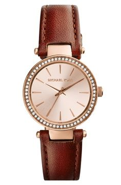 Free shipping and returns on MICHAEL Michael Kors Michael Kors 'Petite Darci' Crystal Bezel Leather Strap Watch, 26mm at Nordstrom.com. Sparkling crystals pave the bezel of a classically styled watch designed with a slim profile and a rich leather strap.