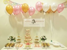 Von wanted an elegant dessert dessert table for her 21st birthday party, with a color scheme of pink, gold and white.   We are loving how pretty the desserts and display looks.  Happy 21st Birthday Von! :)