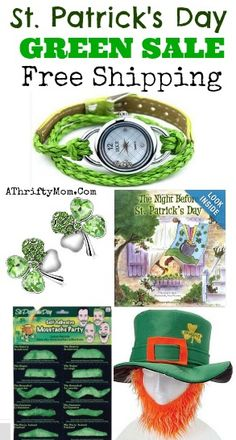st patricks day GREEN sale, every thing you need toGO GREEN with FREE SHIPPING
