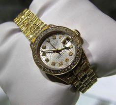 Gorgeous All Gold and Diamond Ladies Custom Rolex!