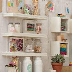 Wall to Wall Shelving | PBteen Simple but with a little detail