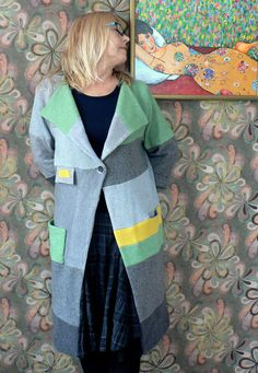 Recycling patchwork oversized coat by AGAINARTshop on Etsy