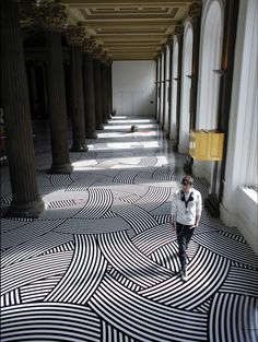 Dizzying, but stunning, woven graphic floor. Could do with Modello custom floor stencils from http://www.modellocustomstencils.com/