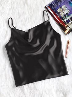 So comfy and easy to wear, this cami tank features in a faux satin, silky fabric with adjustable spaghetti straps in an oversized fit. Look good by pairing it with all of your denims for an effortlessly casual look. Cute Tank Tops, Black Tank Tops, Satin Tank Top, Mini Vestidos, Yellow Black, Casual Looks, Shirt Style, How To Wear, Style Fashion