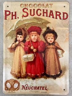 plaque publicitaire vintage chocolat Suchard avec 3 enfants, ancienne publicité