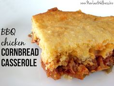 BBQ chicken cornbread casserole. Easy to make and delicious!-hmmm maybe some variation since my kids don't like BBQ flavor/good idea!!