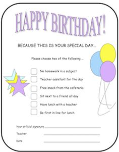 FREE Save this to your Back to School folder on your desktop. Give these Happy Birthday choices to kids at school! Guess which one they choose the most? :)