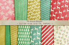 Sleigh Ride Digital Papers by 7th Avenue Designs on @creativemarket