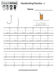 10/8/13 Both need to practice letter formation. Did 4 each. Kindergarten Letter J Writing Practice Worksheet Printable