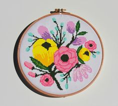 Embroidery Patterns, Hand Embroidery, Cross Stitch Patterns, Creative Embroidery, Amazing Flowers, Cross Stitching, Projects To Try, Peonies, Patterns