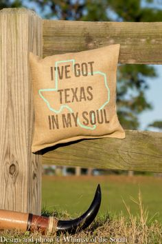 """Burlap Pillow- """"I've Got Texas in my Soul"""" by Whimsyofthesouth on Etsy.com"""