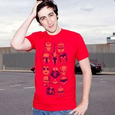 Movie Helmets Tee Men's Red by Busted Tees