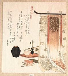 """SURIMONO 摺物 de Kubo Shunman 窪俊満 (1757-1820). """"Screen and Utensils for the Incense Ceremony """" Les surimono sont de luxueuses estampes japonaises, jouant le rôle de cartes de vœux, et imprimées à titre privé."""