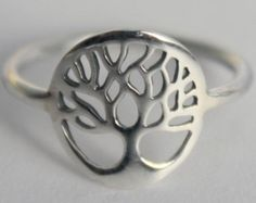 Silver Tree of Life Ring, 925 sterling silver, Yggdrasil, Sacred Viking Celtic symbol, Norse mythology Wold Tree *Divine Tree of the Cosmos