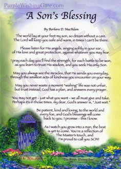 "Don't forget to Add a Frame to your Gift! A Son's Blessing This original, one-of-a-kind ""frame-able"" card is hand-signed, mounted onto a custom board and fits into any standard frame. It comes wit Blessing Poem, Baby Blessing, House Blessing, Wedding Prayer, Wedding Blessing, Wedding Poems, Marriage Prayer, Marriage Poems, Wedding Readings"