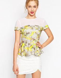 ASOS Peplum Top In Floral Woven Mix